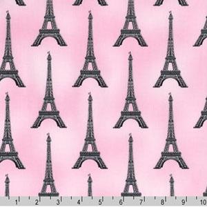 Slicker Paris Panache Eiffel Tower Pink Fabric