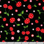 Picnic Party Cherry Black Fabric