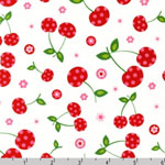 Picnic Party Cherry White Fabric
