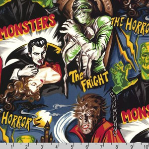 Pleasures and Pastimes Monster Horror Movie Fabric
