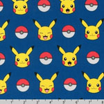 Pokemon Pikachu Stripe Fabric Royal Blue
