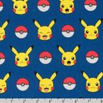 Poke'mon Pikachu Stripe Fabric Royal Blue