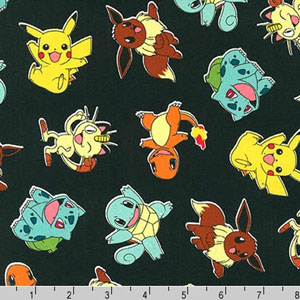 Pokemon Tossed Characters Fabric Jet Black