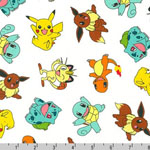 Poke'mon Tossed Characters Fabric White
