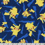 Pokemon Pikachu Blue Fabric