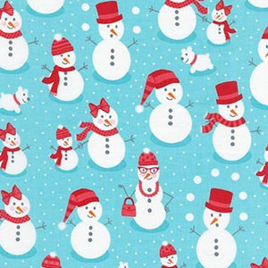 Polar Pals Snowmen Winter Snow Aqua Fabric