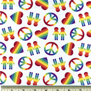 Peace, Love, and Pride Rainbow Fabric