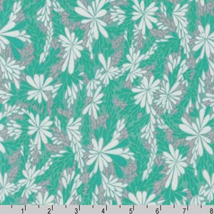 Quill Interlock Knit Sea Glass Floral Fabric