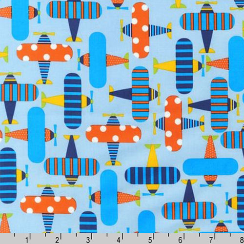 By yard ready set go organic fabric airplane robert for Childrens airplane fabric