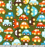 Ready, Set, Go Cars Green Organic Fabric