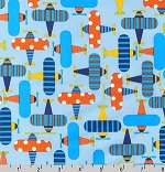 Ready, Set, Go Airplanes on Blue Organic Fabric