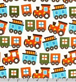 Ready, Set, Go Trains on Cream Organic Fabric