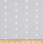 Rebecca Embroideries Flowers White Lightweight Fabric