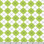 Remix Argyle Diamond Lime Green Fabric