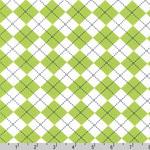 Remix Argyle Diamond Lime Green Fabric