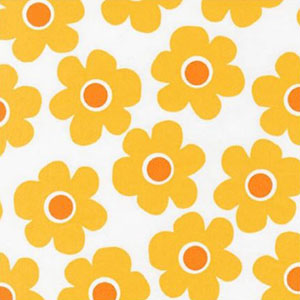 Remix Wide 108 Inches Flower Print Yellow Fabric