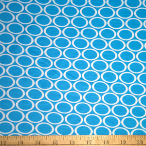 Remix Knit Oval Print Turquoise Blue Fabric