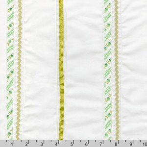 Rick Rack and Ribbons Deluxe Pin Tuck Green Fabric