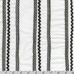 Rick Rack and Ribbons Deluxe Black Stripe White Fabric