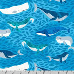 Seaside Treasures Whales Blue Fabric