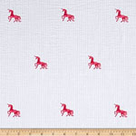 Seersucker Embroideries Unicorn Pink White Fabric