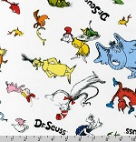 Celebrate Seuss! Tossed Characters Multicolor Fabric