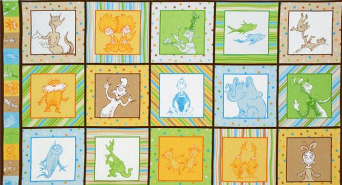 Celebrate Seuss 2 Panel Brown Fabric