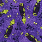 Spooktacular Seuss Grinch Purple Fabric