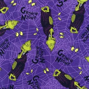 Spooktacular Seuss Grinch Purple Fabric