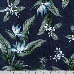 Sevenberry Island Paradise Canvas Print Fabric Navy