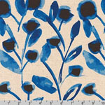 Sevenberry Canvas Cotton Flax Prints Fabric Blue