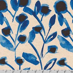 Sevenberry Canvas Cotton Flax Prints Fabric Blue