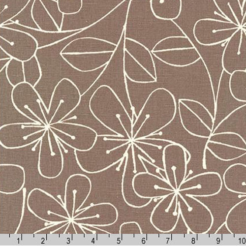 Sevenberry Canvas Cotton Flax Prints Fabric Grey