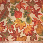 Shades of the Season 8 Leaves Fabric Ivory