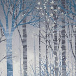 Sounds of the Woods Tree Winter Metallic Snow Fabric