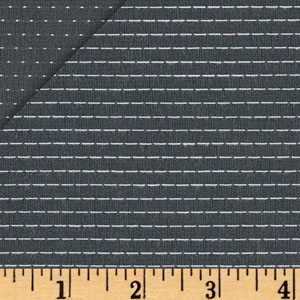 Stitched Chambray Yarn Dyed Stripes Dots Gray Fabric