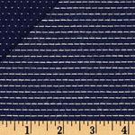 Stitched Chambray Yarn Dyed Stripes Dots Fabric