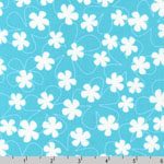 Surf Time Floating Flowers Aqua Blue Fabric