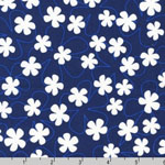 Surf Time Floating Flowers Navy Blue Fabric