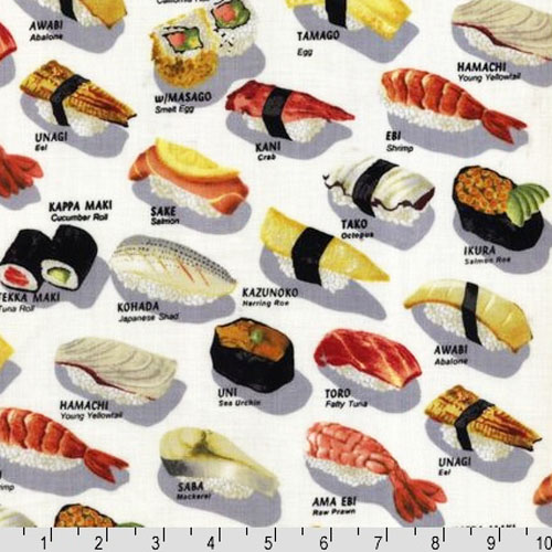 Shushu style robert kaufman chopsticks please sushi bar for Sushi fish names