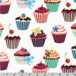 Sweet Tooth Cupcake White Fabric