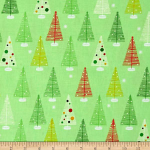 Swell Noel Christmas Trees Green Fabric