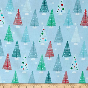 Swell Noel Christmas Winter Blue Fabric