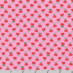 Tiny Happy Lucky Cherries on Pink Fabric