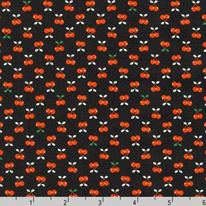 Tiny Happy Lucky Cherries on Black Fabric