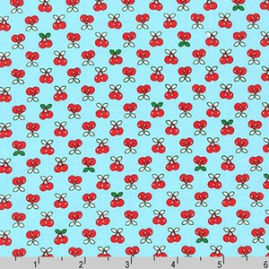 Tiny Happy Lucky Cherries on Aqua Blue Fabric