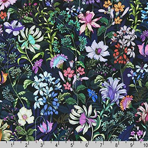 Topia Knit Jersey Print Wildflowers on Navy Blue