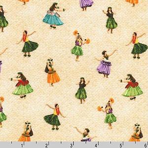 Tropical Gardens Aloha Iki Hula Dancers Ivory Fabric