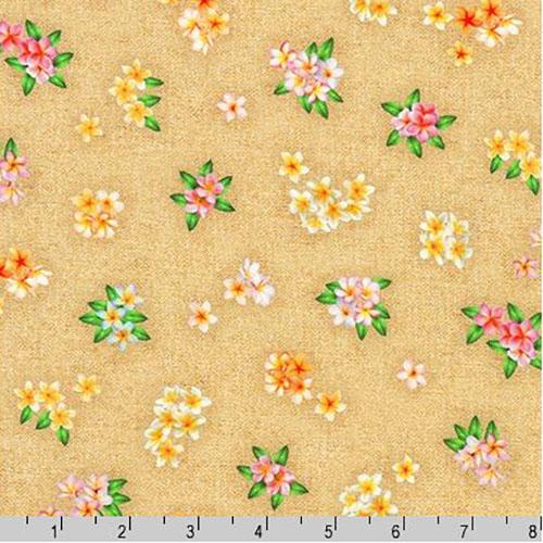 Tropical Gardens Aloha Iki Tiny Plumeria Flowers Fabric