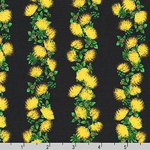 Tropical Gardens Aloha Iki Ohia Lehua Yellow Fabric